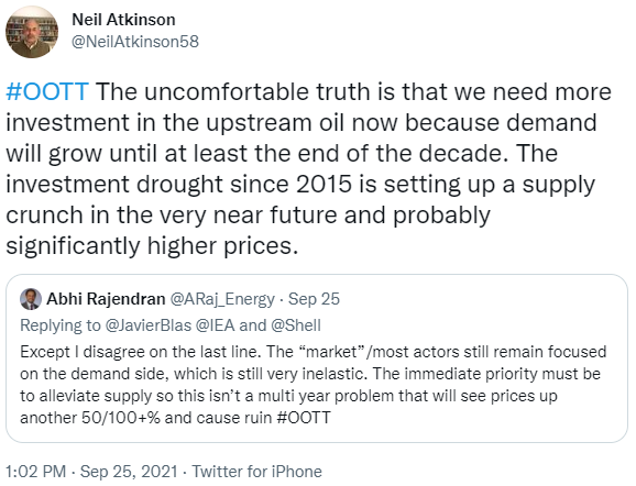 Tweet on the outlook for oil prices ahead