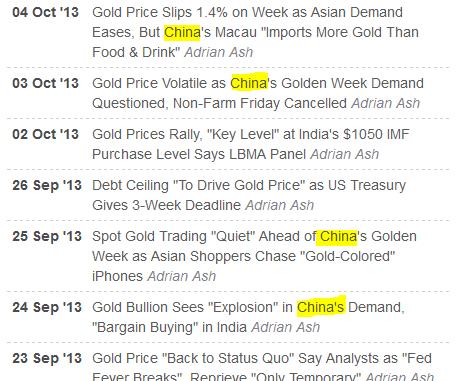 Gold price news from BullionVault, Golden Week 2013