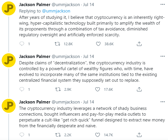 Tweets from Dogecoin co-founder Jackson Palmer