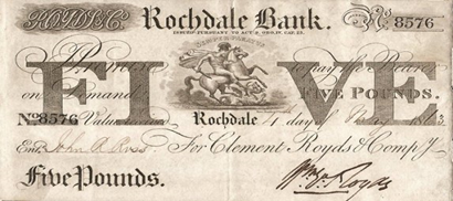 Five Pound note issued by the Rochdale Bank in 1863