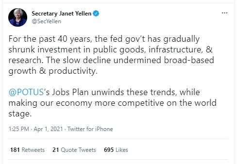 Tweet by Biden's Treasury Secretary Janet Yellen